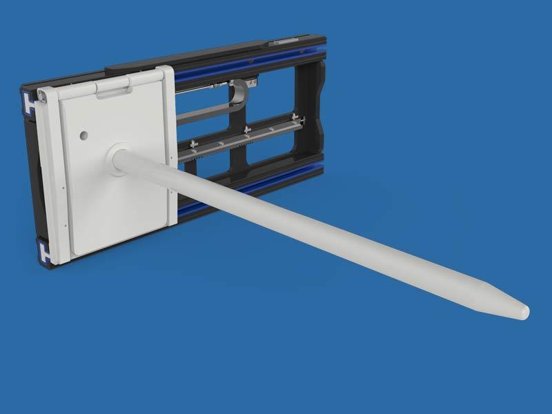 Paper Industry forklift attachment handling rolls.