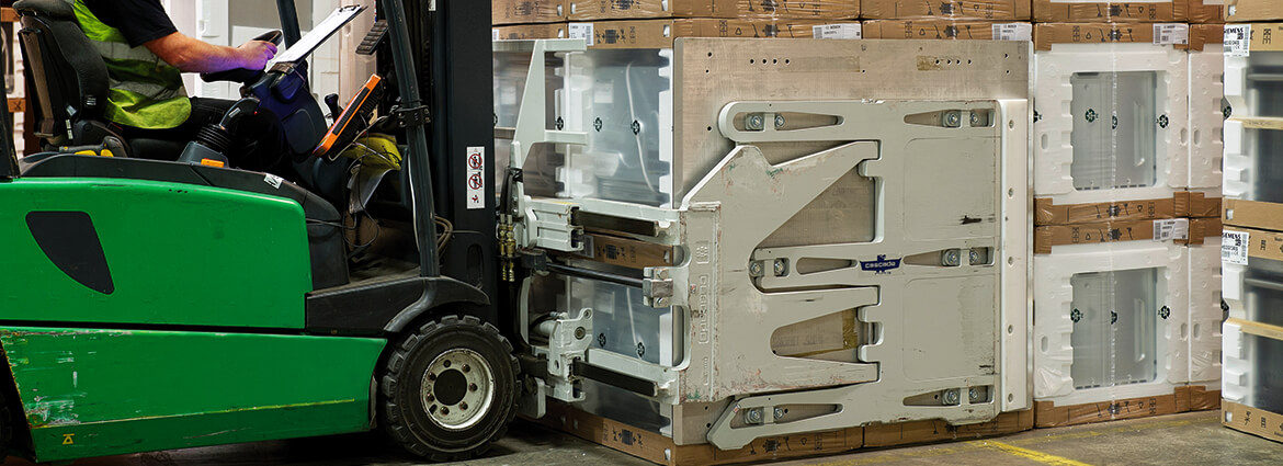 Appliance and Electronic forklift clamps for delicate loads.